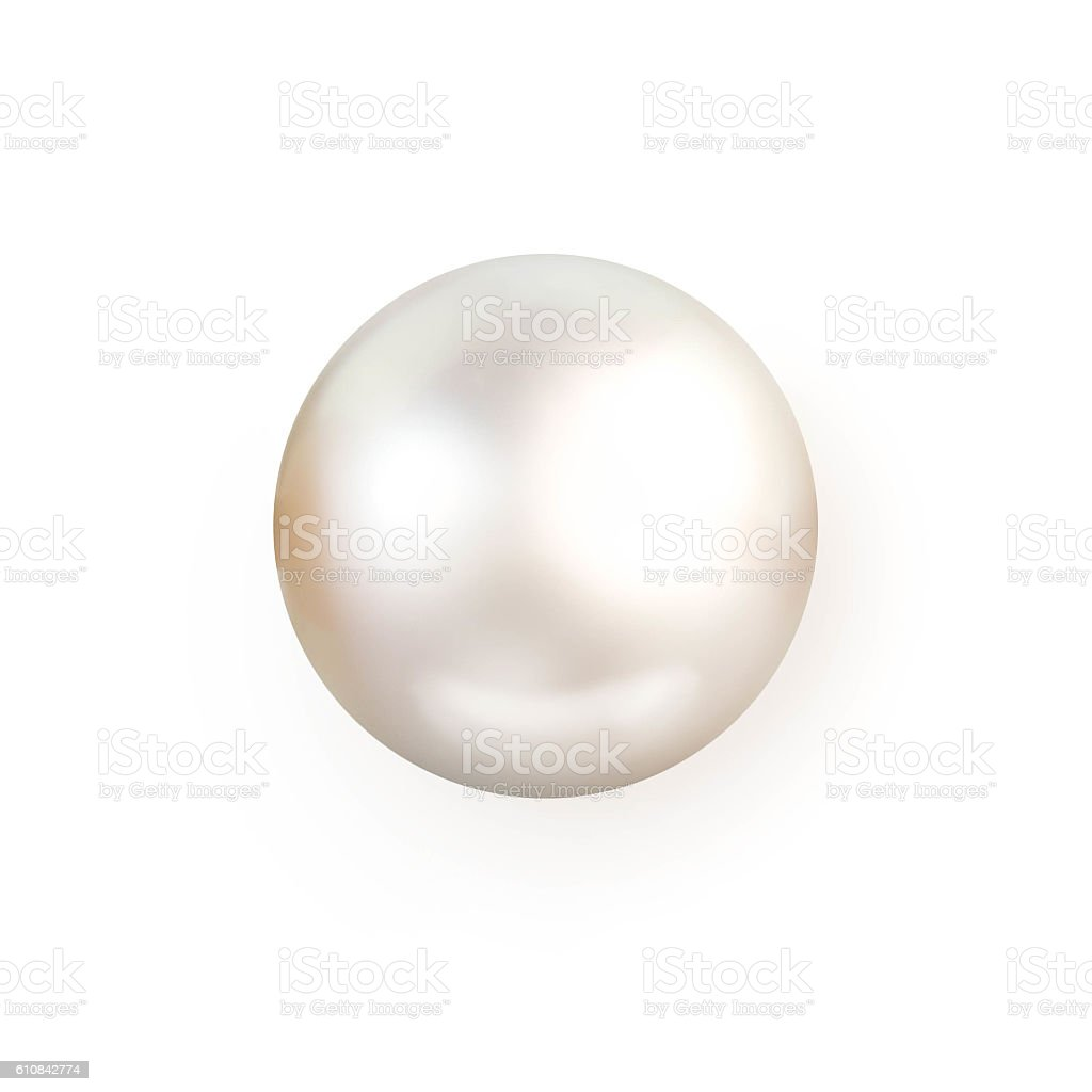 Single white pearl isolated on white background stock photo