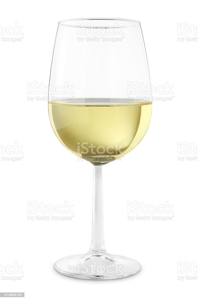 single white wine glass - Stock Image stock photo