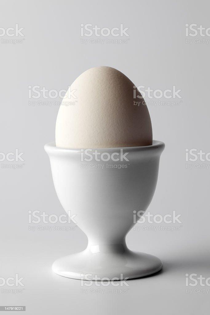 Single whole boiled white egg stock photo
