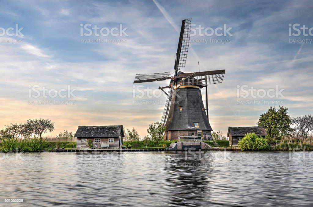 Single windmill at Kinderdijk stock photo