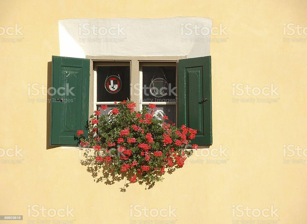 Single Window on Yellow Wall royalty-free stock photo