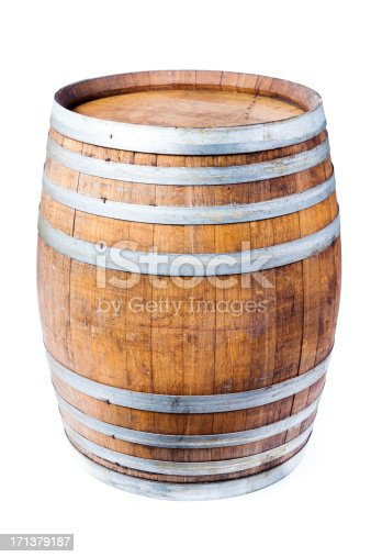 Subject: An oak wine cask barrels isolated on white background.