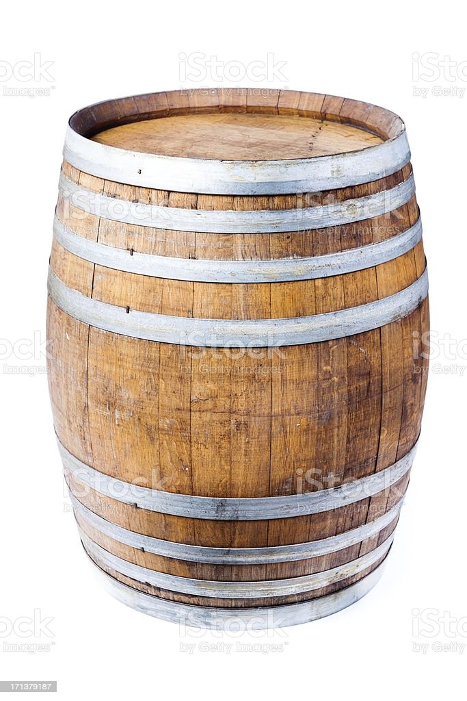 Single Wine Oak Cask Barrel Isolated on White Background stock photo