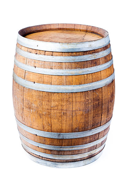 single wine oak cask barrel isolated on white background - barrel stock pictures, royalty-free photos & images