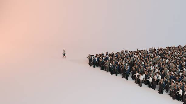 single woman leading group of people 3d illustration stock photo