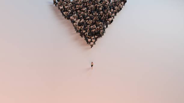 single woman leading group of people 3d illustration - lead stock photos and pictures