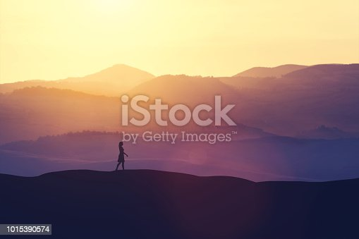 Single woman walking on the hill during sunset. Romantic scenic view. 3D illustration.