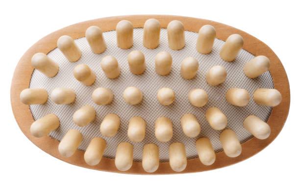 Single wooden massage brush stock photo