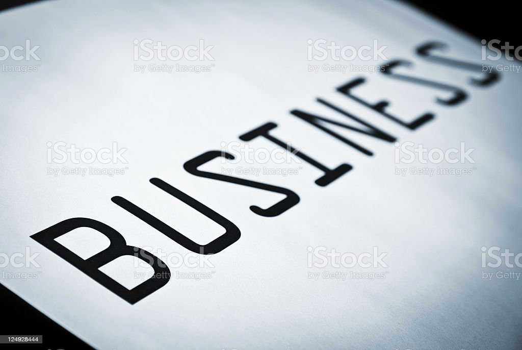 Single Word 'Business' in Blue Duotone stock photo
