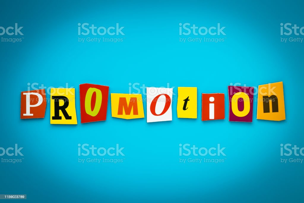 Single word - promotion from cut colorful letters on blue background....