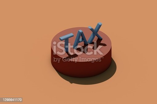 Single word tax on brown background