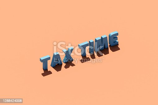 Single word tax time on color background