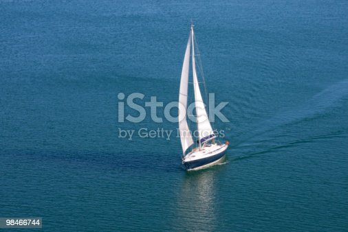 Single Yacht On Blue Sea Stock Photo & More Pictures of Blue