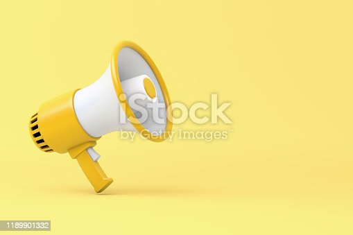 1055944594 istock photo Single yellow and white electric megaphone with a handle stands on a yellow background 1189901332