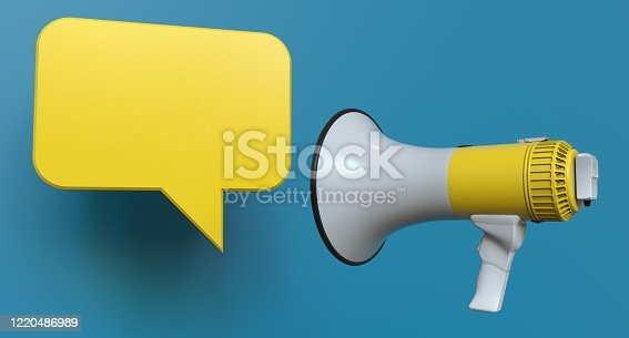 1055944594 istock photo Single Yellow Electric Megaphone Chat Bubble On Modern Background 1220486989