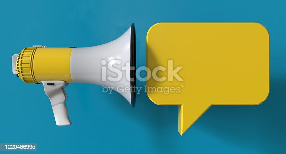 1055944594 istock photo Single Yellow Electric Megaphone Chat Bubble On Modern Background 1220486995