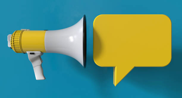Single Yellow Electric Megaphone Chat Bubble On Modern Background stock photo