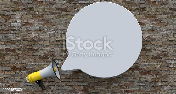 1055944594 istock photo Single Yellow Electric Megaphone On Brick Background 1220487000