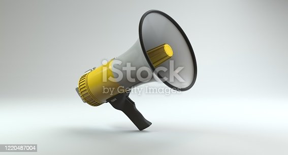 1055944594 istock photo Single Yellow Electric Megaphone On Modern Background 1220487004