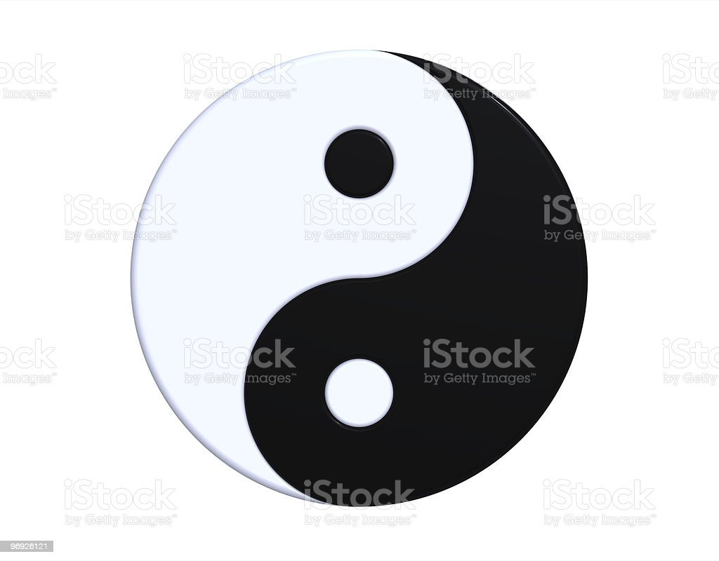 A single yin yang symbol on a white background stock photo