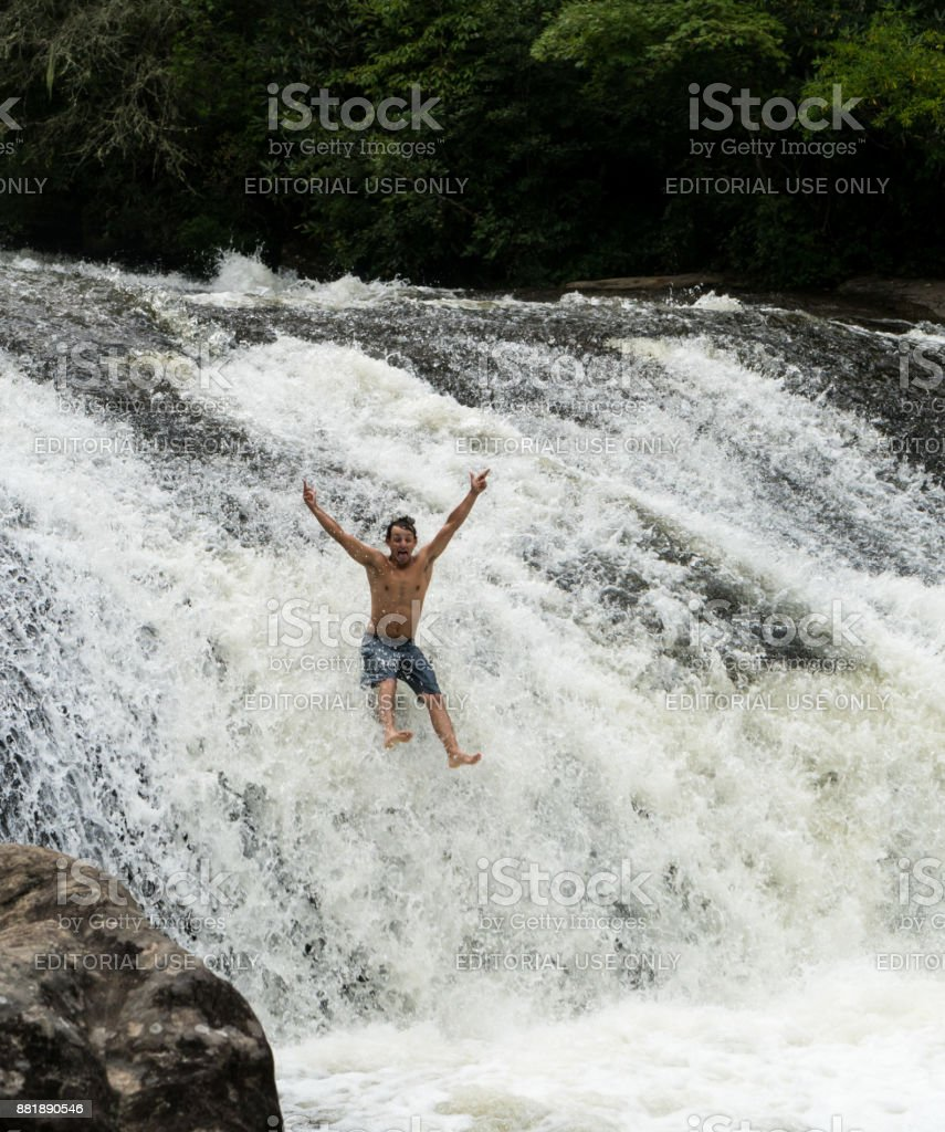 Single youth by Turtleback Falls stock photo