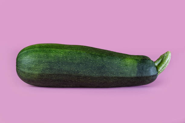 Single zucchini on a pink background with copy space. Nutritious organic vegetable. stock photo
