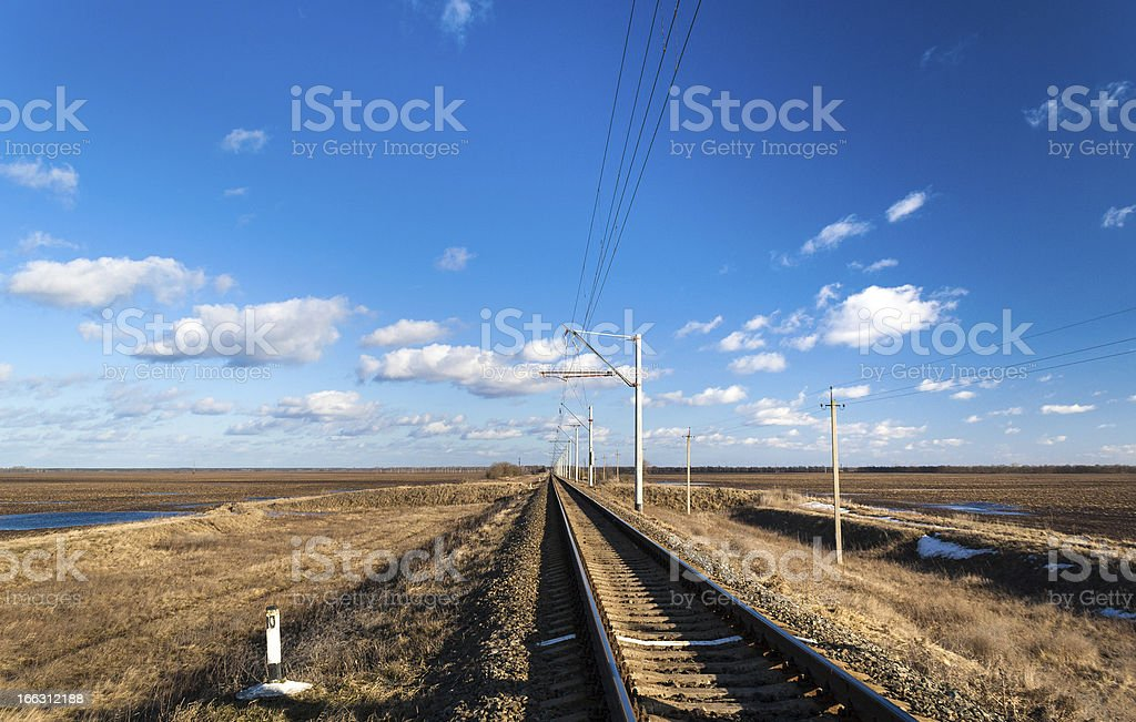 Single-track electrified railway line in Ukraine royalty-free stock photo