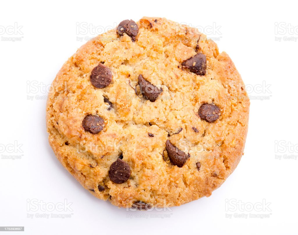 A singular chocolate chip cookie stock photo