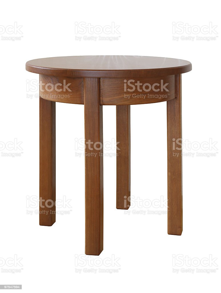 A singular wooden table on a white background royalty-free stock photo