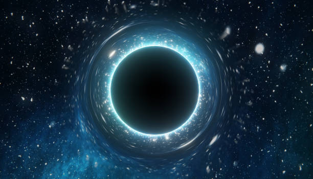 Singularity of massive black hole. 3D rendered illustration. Singularity of massive black hole. 3D rendered illustration. black hole stock pictures, royalty-free photos & images