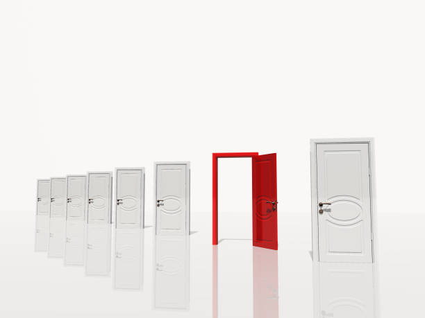 Sinigle open red door stock photo