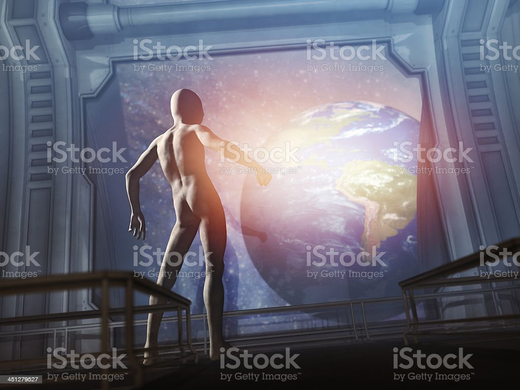 Sinister looking alien in ufo approaching Earth undetected royalty-free stock photo