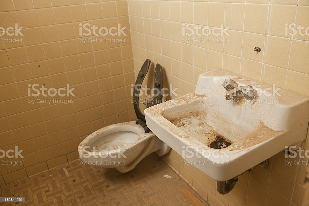 Sink and Toilet, Filthy, Bathroom, Grunge, Dirty royalty-free stock photo