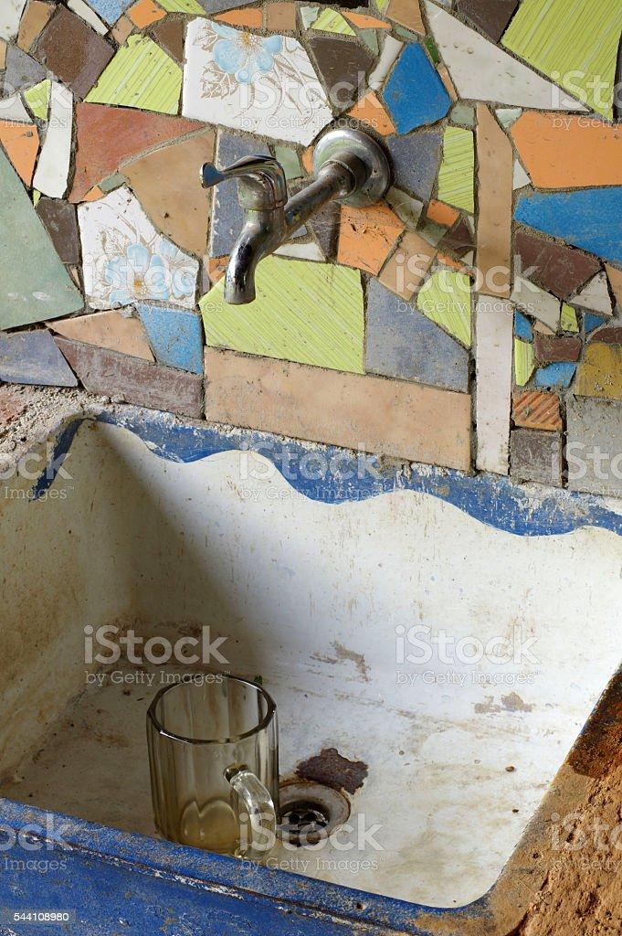 sink ceramic tile mosaic stock photo
