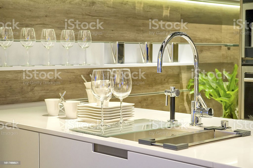 Sink in a kitchen stock photo