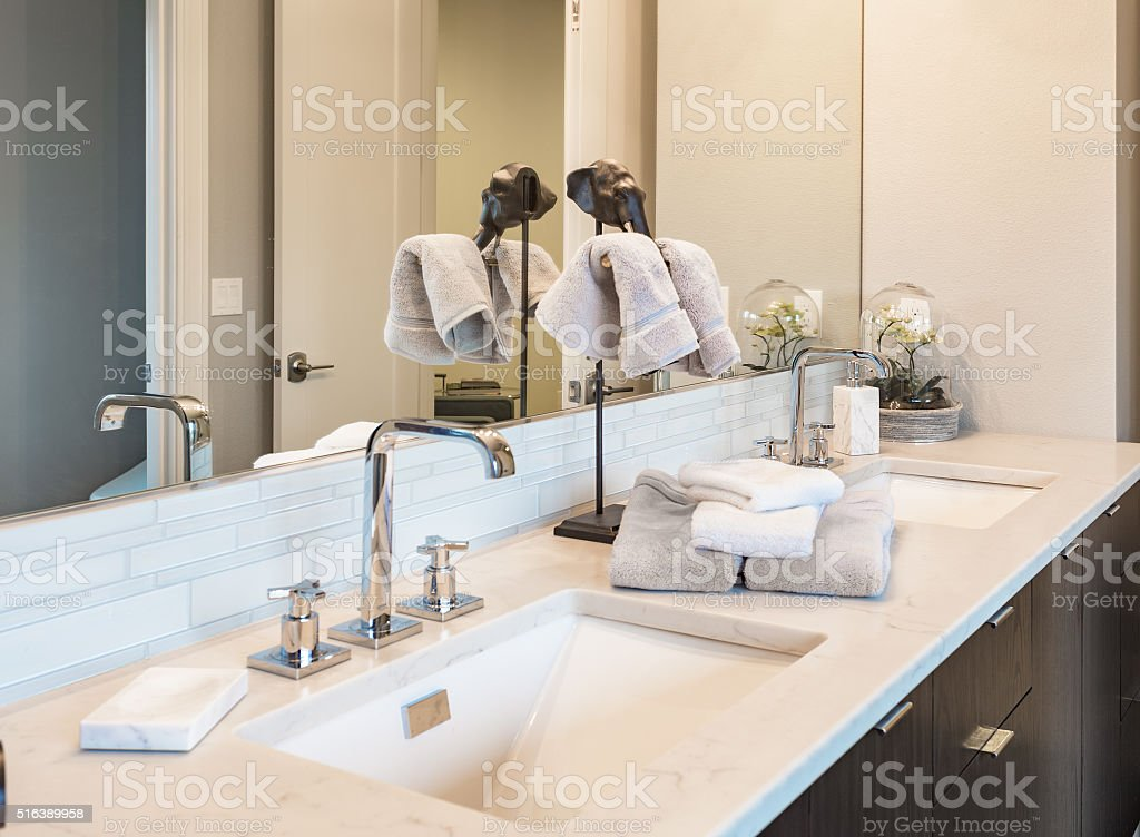 Sink in Master Bathroom in Luxury Home stock photo