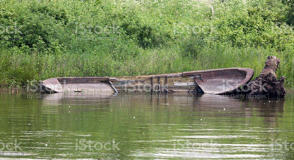 sinked boat stock photo