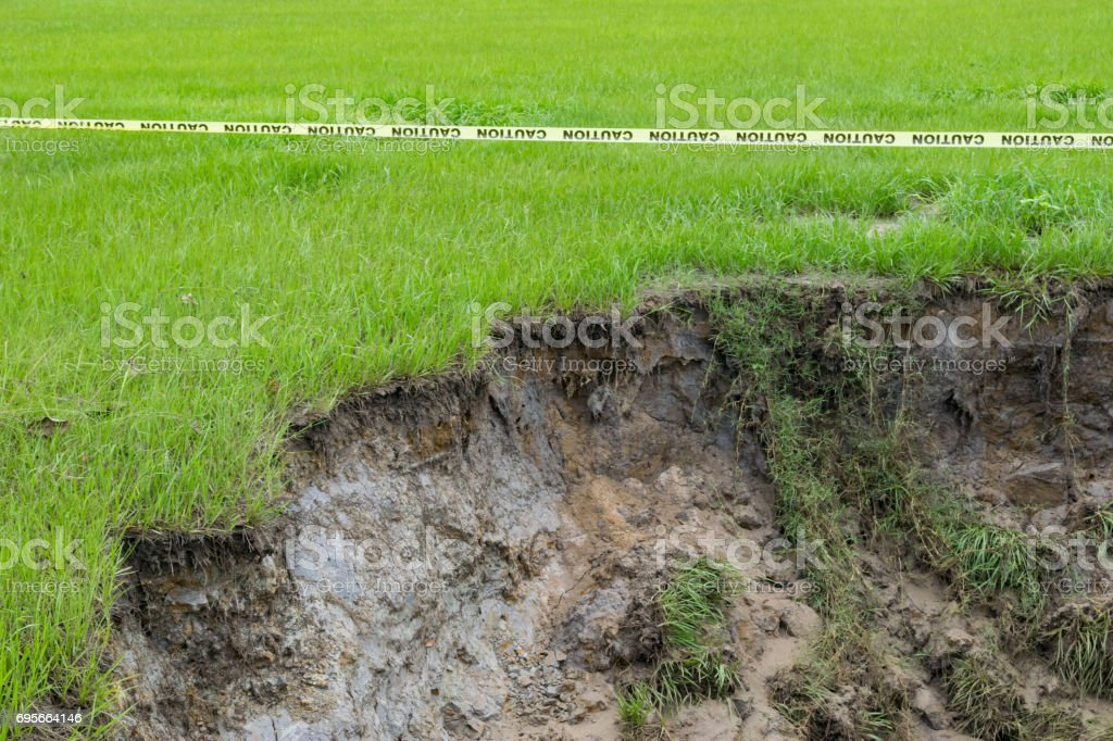 Sinkhole and Caution Tape stock photo