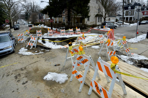 Sinkhole Disrupts Daily Life in Philadelphia, PA stock photo