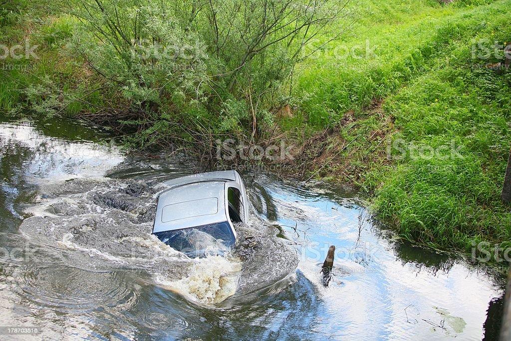 Sinking car stock photo