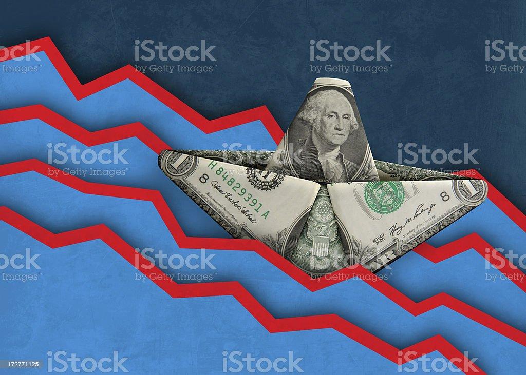 Sinking Dollar royalty-free stock photo