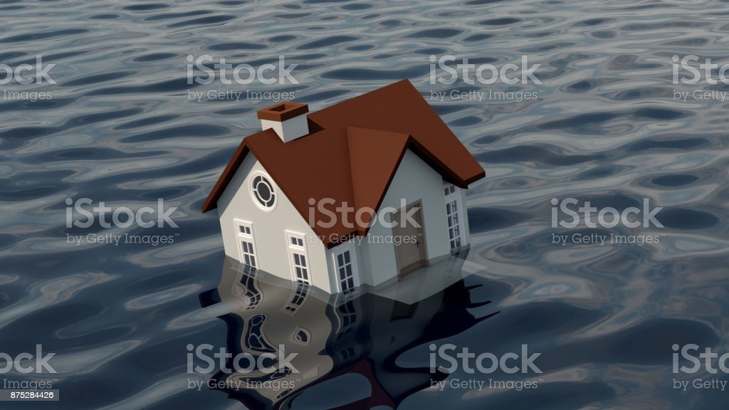 Sinking home in the water.The real estate housing concept. stock photo
