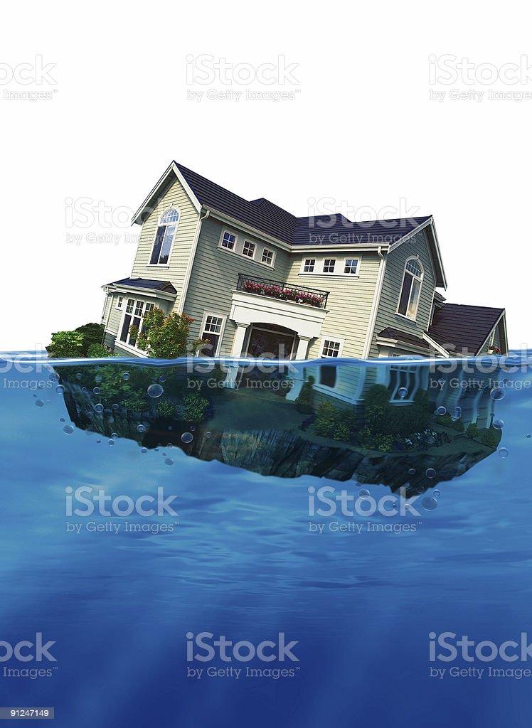 Sinking home stock photo
