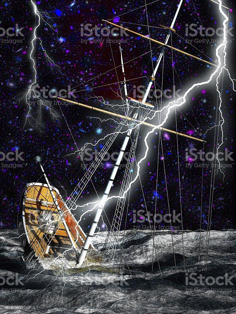 Sinking pirate brigantine royalty-free stock photo
