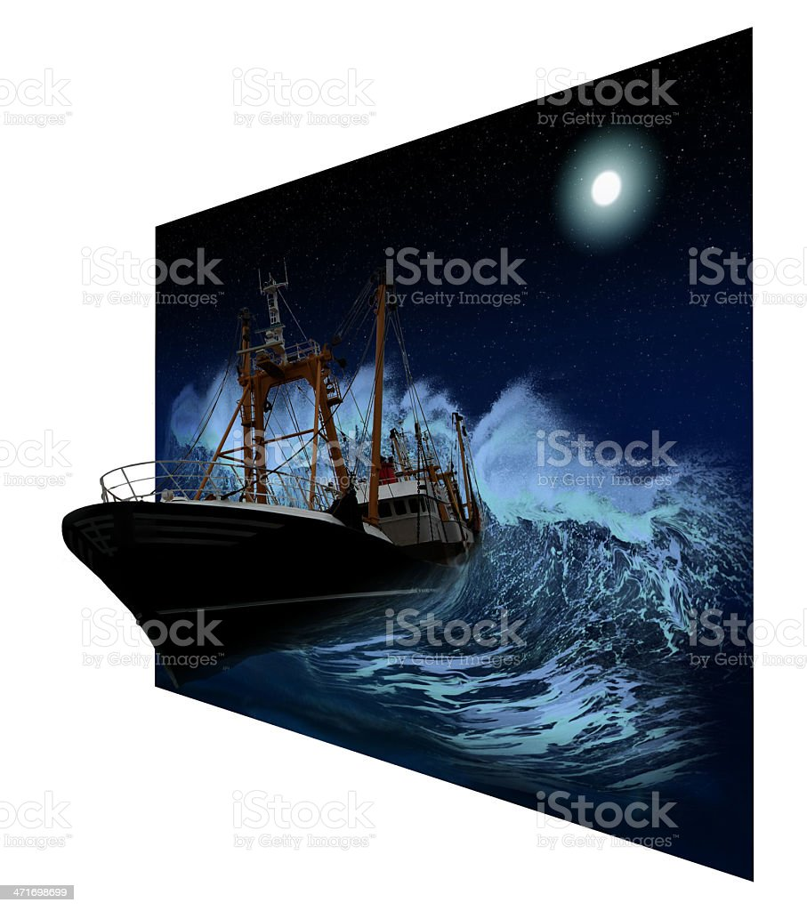 Sinking Ship at night in 3D stock photo