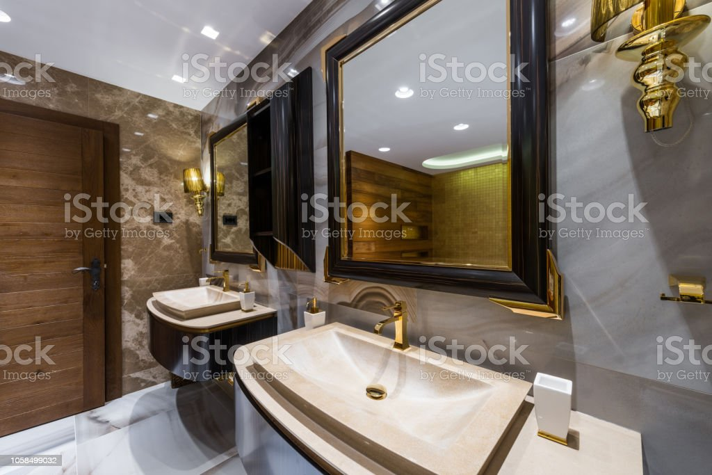 Sinks With Mirrors In Decorated Stylish Bathroom Stock Photo Download Image Now Istock