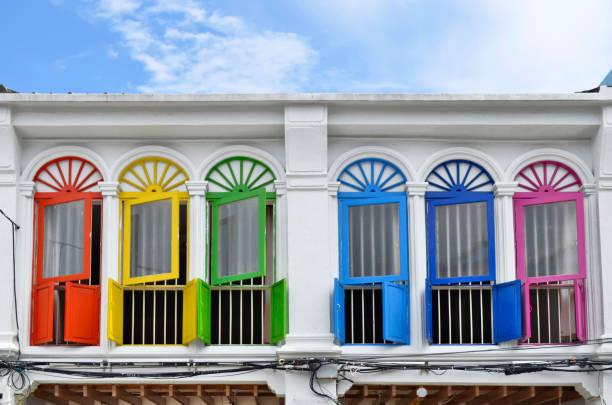 Sino-portuguese facades in Phuket Town stock photo