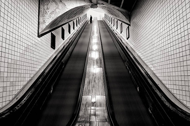 Sint Anna tunnel Antwerp - old escalator stock photo