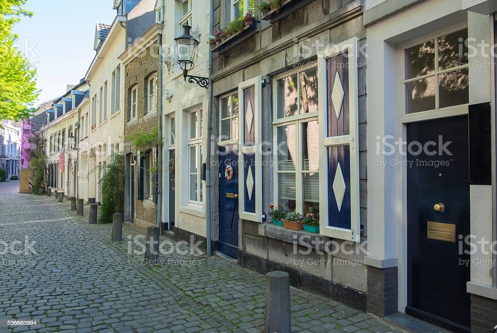 Sint Bernardusstreet during early morning in Maastricht stock photo