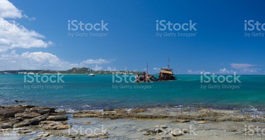 Sint Maarten Ship Wreck stock photo